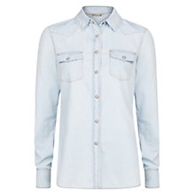 Buy Mango Bleached Denim Shirt, Light Blue Online at johnlewis.com