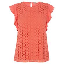 Buy Oasis Crochet Frill Sleeve Top, Coral Online at johnlewis.com