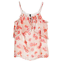 Buy Mango Floral Print Ruffle Camisole, Pink Online at johnlewis.com