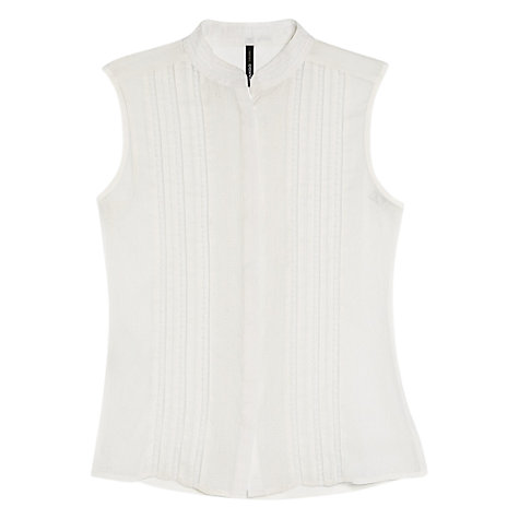 Buy Mango Chiffon Trim Top, Natural White Online at johnlewis.com