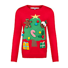 Buy John Lewis Girl Christmas Tree and Presents Jumper, Red/Green Online at johnlewis.com