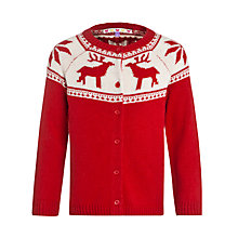 Buy John Lewis Girl Reindeer Cardigan, Red Online at johnlewis.com