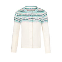 Buy John Lewis Girl Fair Isle Knitted Cardigan, Cream/Gardenia Online at johnlewis.com
