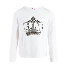 Buy John Lewis Girl Sequin Crown Motif T-Shirt, Cream Online at johnlewis.com