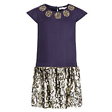 Buy John Lewis Girl Neck Embroidered Sequin Dress, Grey Online at johnlewis.com