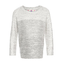 Buy John Lewis Girl Sequin Ombre Jumper, Cream Online at johnlewis.com