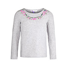 Buy John Lewis Girl Beaded Necklace Long Sleeve T-Shirt, Grey Online at johnlewis.com