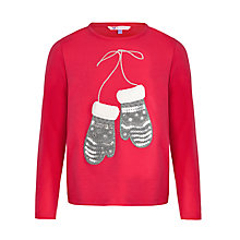Buy John Lewis Girl Mittens Long Sleeve T-Shirt, Red Online at johnlewis.com