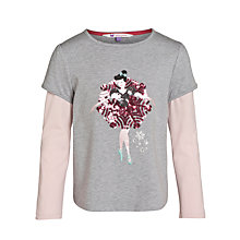 Buy John Lewis Girl Sequin Ballerina Motif Layered T-Shirt, Grey/Pink Online at johnlewis.com