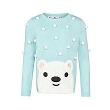 Buy John Lewis Girl Polar Bear Jumper, Green/White Online at johnlewis.com
