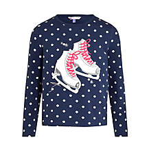 Buy John Lewis Girls Skates Long Sleeve T-Shirt, Navy Online at johnlewis.com