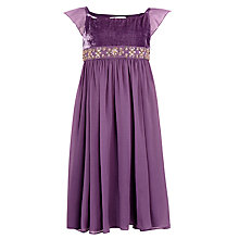 Buy John Lewis Girl Beaded Velvet Party Dress, Purple Online at johnlewis.com