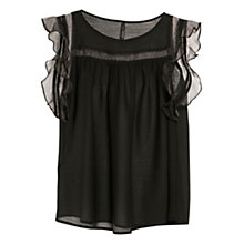 Buy Mango Organza Appliqué Top, Black Online at johnlewis.com