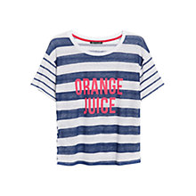 Buy Mango Striped Linen T-Shirt, Navy Online at johnlewis.com