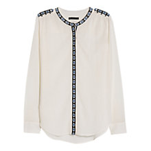 Buy Mango Ethnic Embroidery Shirt, Natural White Online at johnlewis.com