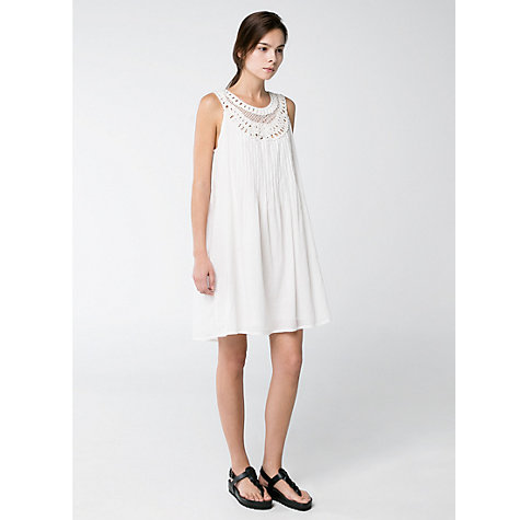 Buy Mango Embroidered Dress, Natural White Online at johnlewis.com