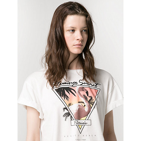 Buy Mango Cropped T-Shirt, White Online at johnlewis.com