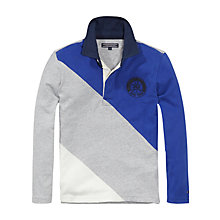 Buy Tommy Hilfiger Boys' Don Long Sleeve Rugby Shirt, Blue/Grey Online at johnlewis.com