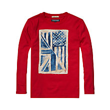 Buy Tommy Hilfiger Boys' Flag Long Sleeve T-Shirt, Red Online at johnlewis.com