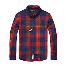 Buy Tommy Hilfiger Boys' Newbury Long Sleeve Check Shirt, Blue/Red Online at johnlewis.com