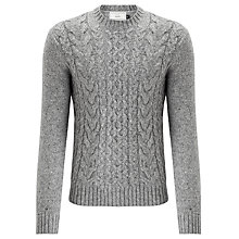 Buy John Lewis Frosty Cable Knit Crew Neck Jumper, Light Grey Online at johnlewis.com