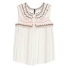 Buy Mango Sleeveless Embroidered Blouse, Natural White Online at johnlewis.com