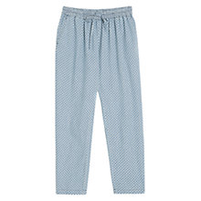 Buy Mango Diamond Print Loose Fit Trousers, Medium Blue Online at johnlewis.com