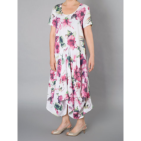 Buy Chesca Print Linen Dress, White/Fuchsia Online at johnlewis.com