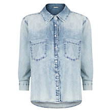 Buy Mango Bleached Cropped Denim Shirt, Light Blue Online at johnlewis.com