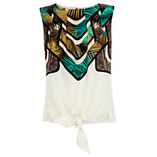 Buy Warehouse Palm Print Tie Front Top, Multi Online at johnlewis.com