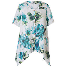Buy Chesca Button Through Print Tunic Top, White/Aqua Online at johnlewis.com
