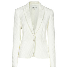 Buy Reiss Latino Quilted Blazer, Cream Online at johnlewis.com