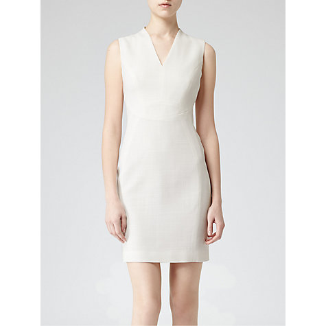 Buy Reiss Justine Fitted Panel Dress, Cream Online at johnlewis.com