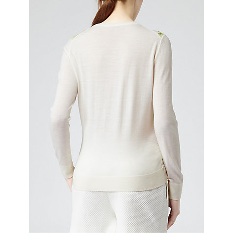 Buy Reiss Rover Print Silk Front Jumper, White Online at johnlewis.com