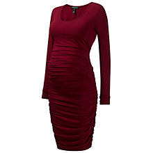 Buy Isabella Oliver Ruched Midi Maternity Dress, Wine Online at johnlewis.com