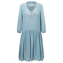 Buy Ghost Tara Lace Trim Dress, Dusty Blue Online at johnlewis.com