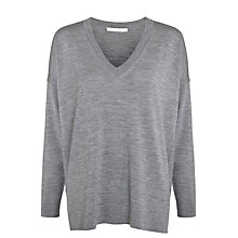 Buy BOSS V-Neck Relaxed Knit Jumper, Grey Online at johnlewis.com