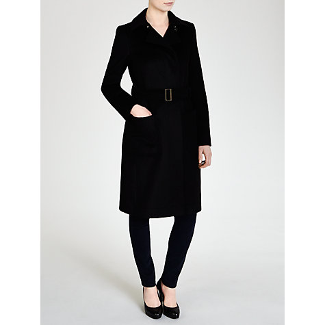 Buy BOSS Belted Coat, Black Online at johnlewis.com