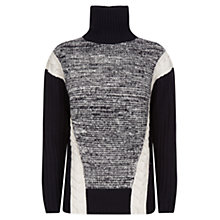 Buy Farhi by Nicole Farhi Mix Cable Cable Polo Jumper, Navy Online at johnlewis.com