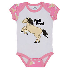 Buy Hatley Baby Horse Print Bodysuit, White/Pink Online at johnlewis.com