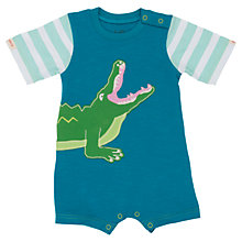 Buy Hatley Baby 'Later Gator' Romper, Teal/Green Online at johnlewis.com