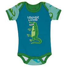 Buy Hatley Baby 'Lounge Lizard' Romper, Blue/Green Online at johnlewis.com