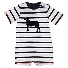 Buy Hatley Baby Stripe Dog Motif Romper, White Online at johnlewis.com