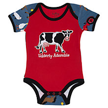 Buy Hatley Baby 'Udderly Adorable' Farm Print Romper, Red Online at johnlewis.com