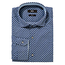 Buy BOSS Leroy Micro Pattern Shirt, Blue Online at johnlewis.com