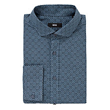 Buy BOSS Mason Print Long Sleeve Shirt, Navy Online at johnlewis.com