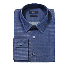 Buy BOSS Ronny Jacquard Slim Fit Shirt, Denim Online at johnlewis.com