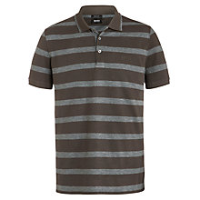Buy BOSS Firenze Stripe Polo Shirt, Grey/Brown Online at johnlewis.com