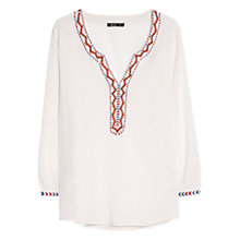 Buy Mango Bead Embroidered Blouse, Natural White Online at johnlewis.com