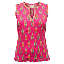 Buy East Kendra Print Crinkle Top, Azalea Online at johnlewis.com